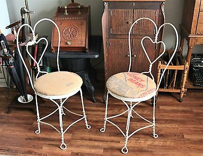 Pair Antique Ice Cream Chairs Twisted Wrought Iron with Burlap Seat Cover