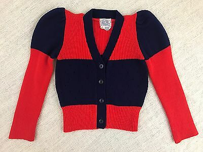 May Knitting Co. Vintage Girls 5/6 Navy Blue Red Colorblock Cardigan Sweater