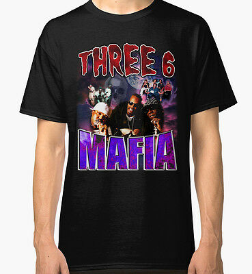 Three 6 Mafia Rap Hiphop Vintage Pen And Pixel Men's Black Tees T-Shirt Clothing