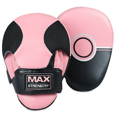 Ladies Focus Pads Martial Arts MMA Boxing Mitts Punch Pad Training Gloves Pink