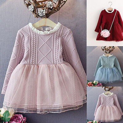 Baby Girls Knitted Kids Tutu Dress Toddler Princess Mesh Dresses Hot Sale