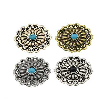 1 Pc Vintage Western Oval Flower Conchos DIY Leathercrafts Accessories Screwback