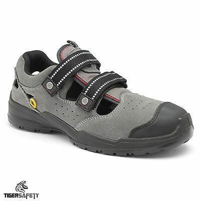 3b9984089d ZEPHYR ZX46 SB E A SRC ESD Grey Suede Steel Toe Cap Safety Trainers ...
