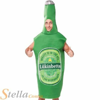 Adult Green Beer Bottle Costume Funny Stag Do Fancy Dress Adult Outfit