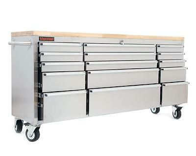 """72"""" Stainless Steel Tool Box Bench Chest Roll Cab Cupboard Large 15 Draws New"""