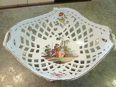 Antique Vintage Porcelain Reticulated Classic Scene Bugs Flowers Footed Bowl