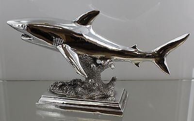 Chrome Table Top Shark Statue / Figure - Mako Great White