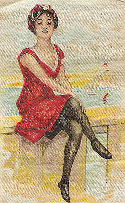 Vintage/antique promotional silk -use in crazy quilt- bathing beauty BEACH WOMAN