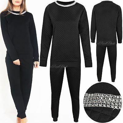 Womens Ladies Quilted Luxury Diamante Necklace Lounge Tracksuit Long Sleeve Size