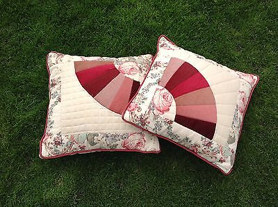 Pair Vintage Style Patchwork Velvet Chintz Damask Tapestry Large Cushions