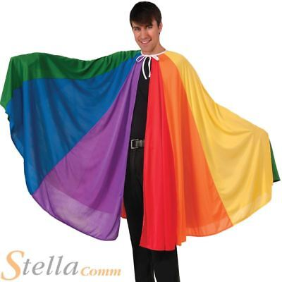 Adult Rainbow Cape Long Cloak Joesph Technicolour Dream Coat Fancy Dress Pride