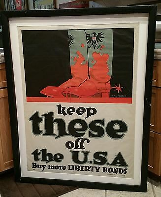 WW1 World War 1 USA Liberty Bonds Keep These Boots off the USA Poster Framed