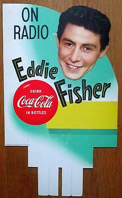 Coca Cola Eddie Fisher store display sign excellent-near mint 1954