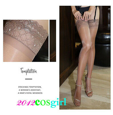 N141 Coffee With silicone anti-skid lace  skins light toe transpare stocking 907