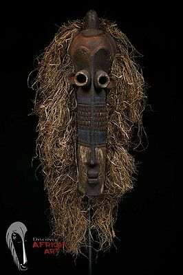 Discover African Art Eastern Pende Pumbu Mask with Raffia—DR Congo