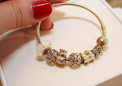 Pandora Authentic Solid 14k Gold Bracelet W 10 Charms