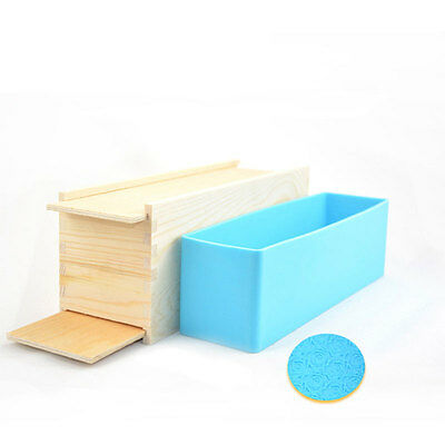 Loaf Soap Mold Set Wooden Box DIY Soap Cutter Tools Rose Figure Silicone Mould