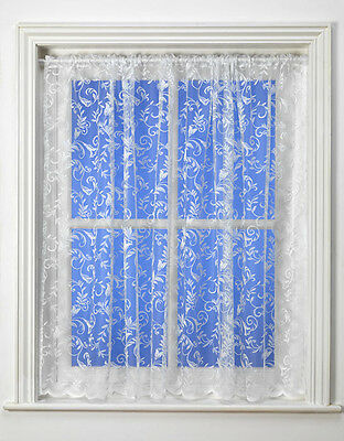 Best Selling Alexia Floral Swirl Design White Net Curtains