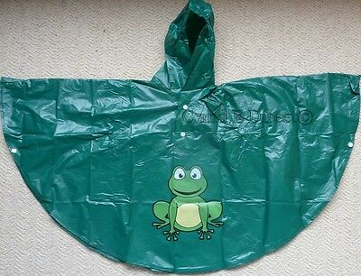 Kids Waterproof Poncho Fold Up Emergency Rain Coat Age 4-6 Green Frog Design NEW