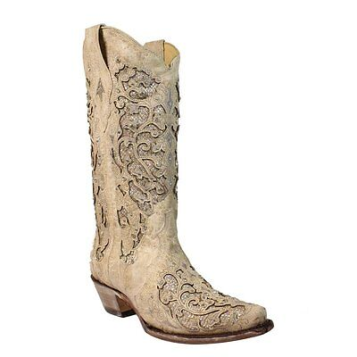 d0747b76e CORRAL LADIES WHITE Glitter Inlay/Crystals Wedding Boot A3322 ...