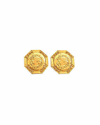 ANCIENT GREEK Roman Gold Coin Replica Style Earrings Clip On Hexagon