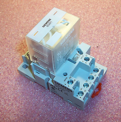 Qty (1) 3Tx7144-4E9 Siemens 14 Pin Relay Socket With 3Tx117-5Hc03C-24Vdc Relay