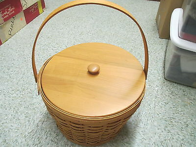 Vintage 1995 Longaberger Sewing Basket with 3 protectors Wooden Lid