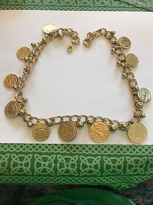 """Alexander The Great 24""""  Inch Large  Gold Tone Faux Coin Necklace- Free Shipping"""