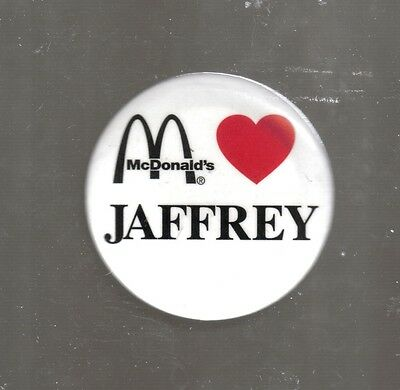 "Rare Vintage Jaffrey New Hampshire Loves McDonald's 1 3/4"" Pin Back"