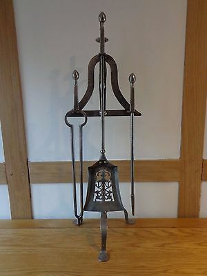 Antique 19th century fire irons & stand in the form of a lark spit, poker, brass