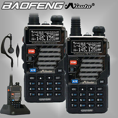 2x Baofeng Misuta UV-5R Dual Band UHF VHF FM Ham Walkie Talkie Radio + Earpiece