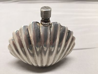 Vintage Scallop Seashell Perfume Bottle 925 Sterling Silver Marked Plat-Mex S.a.