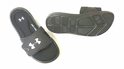 New Youth Under Armour Ignite IV Slide Sandals Style 1252568-001 Black 16MN lr