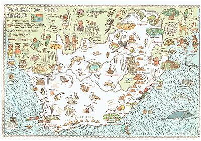 Cartoon Pictograph Cartograph Map of South Africa Detailed facts about region