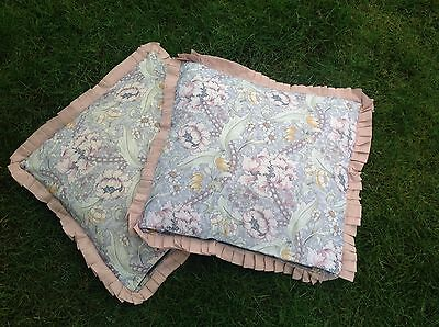 PAIR VINTAGE WILLIAM MORRIS HOME MADE CUSHIONS Handmade Upholstery Fabric Sewing