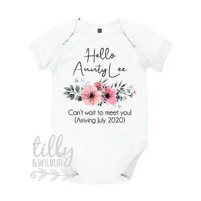 Baby Bodysuit. Hello Aunty Personalised Pregnancy Announcement Romper With Date