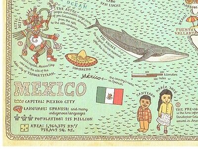 Cartoon Pictograph Cartograph Map of Mexico Detailed facts about region