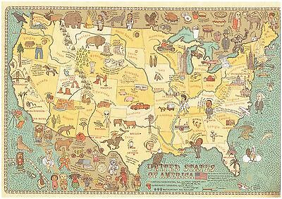 Cartoon Pictograph Cartograph Map of United States Detailed facts about region