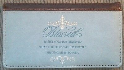 Womens Christian Blessed Is She Luke 1:45 Teal Brown Lux Leather CHECKBOOK COVER
