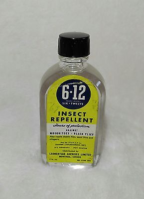 Vintage 6 12 SIX TWELVE INSECT REPELLENT Advertising Bottle - COMPLETELY FULL!