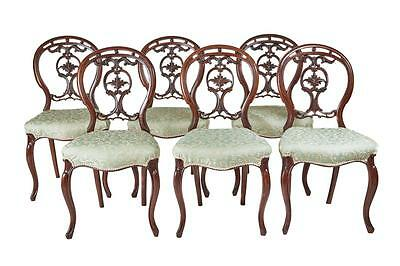 Set Of 6 19Th Century Victorian Walnut Dining Chairs