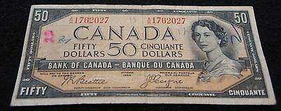 1954 Bank of Canada 50 Dollar Note in Good Condition Devil's Face Note!