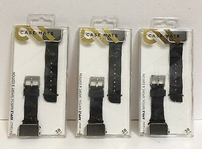 LOT OF 3 Case-Mate -Facets Smartwatch Band for Apple Watch Sport & Edition 38mm