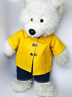 9a605179e34 Large Vintage White Plush Build a Bear + Yellow Raincoat Jacket Slicker Old  Tag