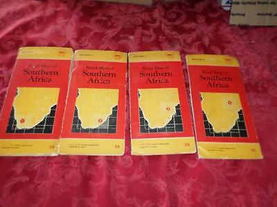 Vintage Shell Road Maps Of South Africa 1956 Sections 1-4 Foldex  Rare Excellent