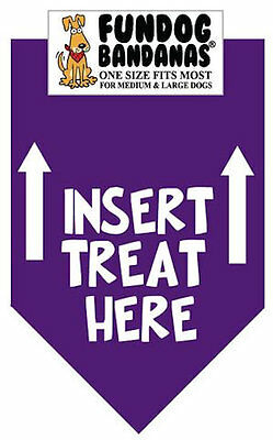 Insert Treat Here - Fun Dog Bandana - Small - 100% SALE BENEFITS RESCUE