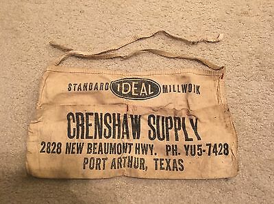 Vintage Canvas Nail Pouch Crenshaw Supply Port Arthur, TX Lumber