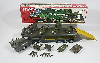 Vintage Tin Friction Toy Us Army Combat Carrier Japan Rare Nos Mint Condition