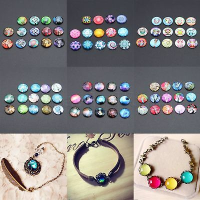 Nice-looking Photo Image Round Shape Flat Glass Cabochon 12mm DIY Craft 10/50pcs