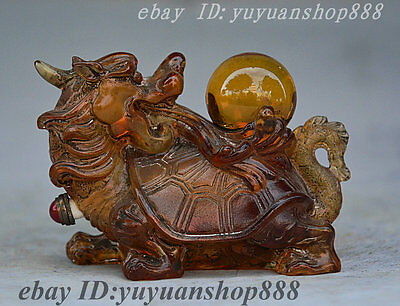 Collect China Glass FengShui Animal Dragon Turtle Play Ball Statue Snuff bottle